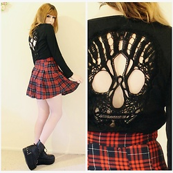 Rachel-Marie - Gamiss Long Sleeve Skull Hollow Out Mini Dress, Off Brand Black Lace Up Platform Boots - Off To See The Band