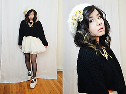Lovely Blasphemy - Unif Cropped Sweater, Alice & The Pirates Pearl Necklace, Tralala Lace Skirt, Liz Lisa X Yui Kanno Un Deux Trois Ballet Platforms - I became insane with long intervals of horrible sanity