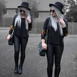 Sammi Jackson - Primark Fedora, Zaful Sunglasses, Vip Me Embroidered Bomber, Primark Chiffon Vest, Stylewe Leggings, Topshop Alexy Boots, Chanel Vintage Bag - EMBROIDERED BOMBER JACKET