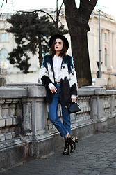 Andreea Birsan - Multicolor Faux Fur Coat, Ruffle Shirt, Reworked Step Hem Jeans, Black Fedora Hat, Mini Crossbody Bag, Embroidered Ankle Boots - Embroidered ankle boots: the go-to shoes for winter