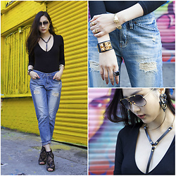 Tina Lee - Jimmy Choo Leather And Lace Sandals, Dita Aviator Sunglassese, Hermès Leather Cuff - Boyfriend Jeans