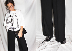 Doris Dave - Weekday T Shirt, &Otherstories Leather Bag, Zara Pants, Keds Metallic Sneakers - POWER