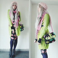 Candy Thorne - Handmade By Me Cactus Bag, Forever 21 Floral Bodycon, Monki Green Cardigan, 390 Mart Blanket Scarf, Jeffrey Campbell Buckle Platforms - Handmade cactus bag