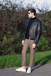 Jordi - Acne Studios Gibson Leather Jacket, Cos Jumper, Acne Studios Rene Pintuck Multi, Adidas Stan Smith - Tweed