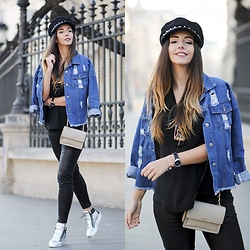 Manuella Lupascu - Giuseppe Zanotti Sneakers, Dkny Watch, Dkny Bag, Sammydress Leather Pants, Sammydress Denim Jacket, Sammydress Hat - Casual outfit with a sparkle