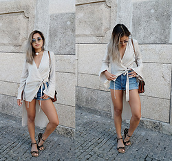 Jessica Tran - Zara Taupe Blouse, Urban Outfitters Denim Shorts, Handmade Spotted Sandals - Too cool to tie things uip