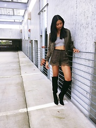 Angelina D'Souza - H&M Green Bomber, Forever 21 Green Crop Top, H&M Lace Shorts, Kohls Over The Knee Boots - Green