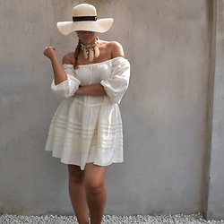 Fashion Statements By Q - Supertrash Beach Hat, Quty Fashion Shell Necklace, Free People Offshoulder Dress - White Bohemian Dress