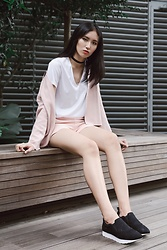 ANN-MARIE YANG - Zara Outerwear, Zara Top, Pedro Trainers - Pink panther