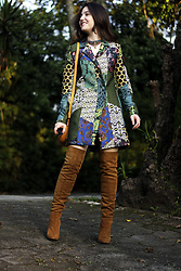 Paulina CM - Desigual Print Coat, Stephanie Ascensio Thigh High Boots, Husher Long Strap Bag - Prints And More Prints