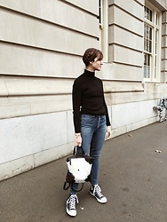 Tonya S. - Marks & Spencer Turtleneck, Redone, Converse - Denim and Converse