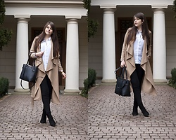 Feather P - Mohito Bag, Zara Pants - KHAKI WATERFALL COLLAR BELTED COAT