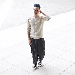 Andy Yanata - Zara Knitwear, Kle Oversized Pants, Converse Basic Sneakers - What do you think about my hair?