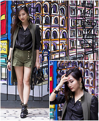 Tina Lee - L'agence Vest/Dress, Valentino Booties, Balenciaga Mini City Bag - Going Olive