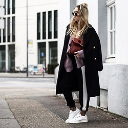 Fashiontwinstinct - Weekday Knit, Zara Coat, Nubikk Sneakers - Purple Knit x Fishnets & White Kicks.