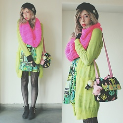 Candy Thorne - Handmade Cactus Bag, Monki Green Cardi, Valley Girl Geometric Dress, Shibuya 109 Buckle Boots, H&M Neon Scarf - Winter Neons