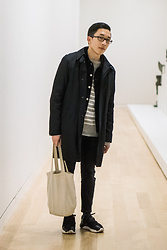 Haley Ma - A.P.C. Black Coat, Helmut Lang Black 1998 Archive Denim Jacket, Muji Striped Cotton Sweater, Uniqlo Cropped Black Jeans, Y 3 Qr Run - Hello world! I am alive