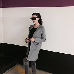 Camille MARI - Valentino Stud Sunglasses, Stylewe Long Sleeve Wool Blend Casual Open Collar Pockets Cardigan, Casadei High Boots Light Grey - Secret confessions