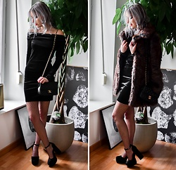 Saskia B. - Asos Fur Coat, Gémo Velvet Dress, Pull & Bear Velvet Heels, Asos Fishnet, Chanel Bag - Velvet Party.