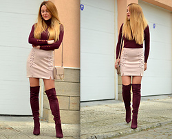 Martina Manolcheva - H&M Blouse, Dresslily Skirt, Shoes, Bag - Burgundy And Pink