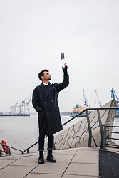 Kevin Elezaj - Bershka Boots, Cheap Monday Jeans, Topman Coat, Cos Gloves, Huawei Phone - Hamburg