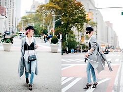 Aika Y - Isabel Marant Newsboy Cap, Moussy Grey Long Cardigan, Zara Faux Leather Cropped Top, H&M White Button Down Shirt, Chanel Vintage Mini Bag, Moussy Frayed Hem Jeans, Asos Pointed Heeled Mules, Asos Fishnet Socks, No Weekends Wrap Choker - MOUSSY