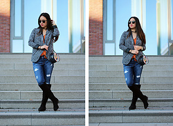Sandy L. - The Sting Blazer, American Eagle Outfitters Jeans, Mango Bag - Patterned Blazer