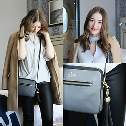 Taylor Doucette - Boohoo Wrap Choker Blouse, Topshop Camel Coat, Vero Moda Coated Denim, Kate Spade Cross Body Purse - I'm Me- Us The Duo