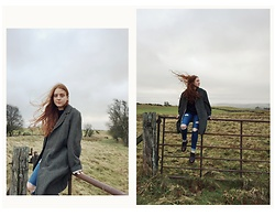 Ellie Evelyn Orrell - Vintage Wool Jacket, Topshop Ripped Jeans, Dr. Martens Ox Blood Brogue - Wintry winds