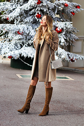 Anna Gotsyk - Christian Dior Bag, Michael Kors Coat, Zara Boots, Promod Dress - Christmas in Monaco