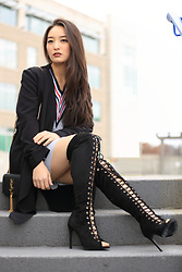 Kimberly Kong - Amiclubwear Lace Up Over The Knee Boots, Sosie Black Duster, Ysl Tassel Crossbody Bag - My Current Favorite Over-the-Knee Boots