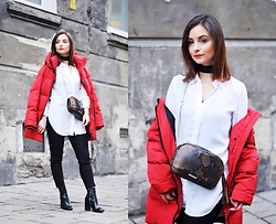 Barbara Kucharska - Zara Jacket, H&M Shirt, Stradivarius Choker, Fabiola Bag, Mango Pants, Stradivarius Boots - Red Down Jacket