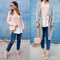 Jenn Lake - Vince Camuto Blush Layered Sweater, Nordstrom Long Grey Cardigan, Cuyana Mini Chain Saddle Bag, Adriano Goldschmied Cropped Denim, Salvatore Ferragamo Nude Bow Pumps, Quay High Key Sunglasses, Baublebar Pink Fringe Earrings - Layered Winter Sweaters