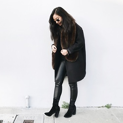 Tiffany Wang - Public Desire Sock Booties, Aritzia Leather Leggings - SOCK BOOTIES