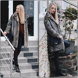 Laura Simon - Zara Leo Coat, Asos Orange Red Sweater, Rinascimento Black Leather, Lemare Black Gold Boots - Leo and Leather