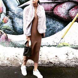 WMwatchme - Ted Baker Faux Fur Coat, Oak+Fort Camel Dress, Adidas White Sneakers, Zara Small Tote - Holiday look