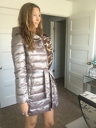 Cindy Batchelor - Bldo Cute Metallic Puffer Coat With Leopard Print Lining - Cute Metallic Puffer coat with leopard print lining