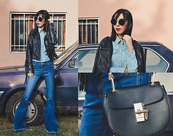 Katy Mage - Zaful Flares, H&M Denim Shirt - DOUBLE DENIM + FRINGE