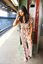 Angelina D'Souza - Forever 21 Tribal Jumpsuit, Target Sandals, Forever 21 Choker, Jewelmint Skyline Bracelet - Easy