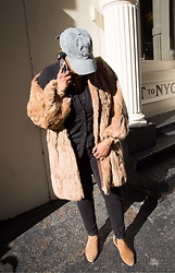 Beoncia Dunn - Madame Official Vintage Fur Coat, Uniqlo Heat Tech Jeggings, H&M Men's Long Sleeve Woven, 365 Fxck 28 Days Ball Cap, House Of Olivia Anthony Phone Sticker, Asos Men's Chelsea Boots - T H E ||| N E W | Y O R K E R