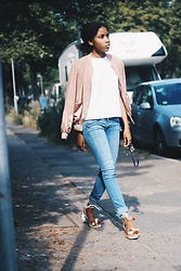 Nelly Negret - Pom Pom Shoes, Bomber Jacket - Pom Pom shoes and pink bomber jacket