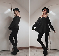 Elina Shyrokykh - Mudo Black Hat, H&M Black Leggings, Gap Gray Socks - C L O U D Y