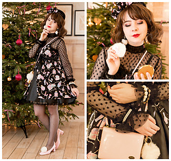 Lacy Dottie - Zara Dotted Sheer Top, Angelic Pretty Dreamy Girl Jsk, Topshop Pink Pumps, Wego Fluffy Earrings - I'm a present...