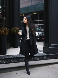 Josephine Ellen - Express Faux Fur Vest, Larry Levine Coat, Banana Republic Sweater, Louise Et Cie Boots, Zara Pants - Winter Layers