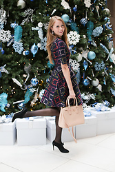 Natalie A - Ted Baker Floral Dress, Prada Double Zip Tote - Merry Christmas Baby!