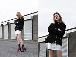 Hannah Louise - Missguided Shearling Jacket, Missguided Satin Cami Top, Missguided Silver Mini Skirt, Missguided Pvc Boots - Silver Mini Skirt