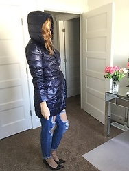 Cindy Batchelor - Glostory Distressed Denim Jeans, Bldo Blue Hooded Puffer Coat - Hooded blue puffer coat and distressed denim