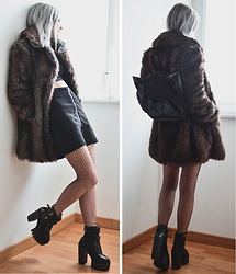 Saskia B. - Asos Fur Coat, Oribagu Cat Bag, The Ragged Priest Suede Skirt, Zaful Heels, American Apparel Crop Top - Fur Fur & Purr Purr