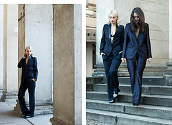 Leonie // www.noanoir.com - Lala Berlin Blue Tailored Suit Blazer, Lala Berlin Blue Tailored Suit Pants, Woron Black Minimal Bralette, 3.1 Phillip Lim Leather Two Tone Pointed Loafers - Blue Suit