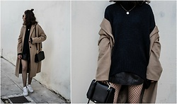 Theoni Argyropoulou - H&M Sweater, Stradivarius Camel Coat, Mango Leather Skirt, Forever 21 Fishnets, Zara Shoulder Bag, Gold Necklace, Adidas Superstar Sneakers - Camel x Black on somethingvogue.com